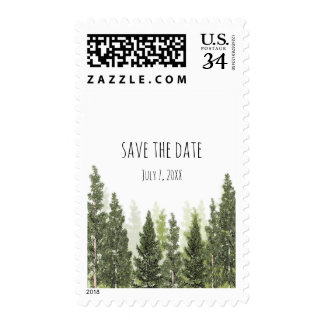Rustic Pine Trees Simple Country Wedding Postage