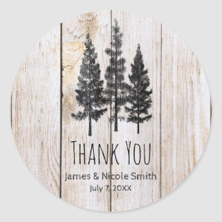Rustic Pine Trees Wooden Simple Country Wedding Classic Round Sticker