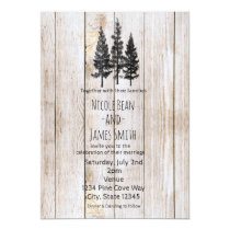 Rustic Pine Trees Wooden Simple Country Wedding Invitation