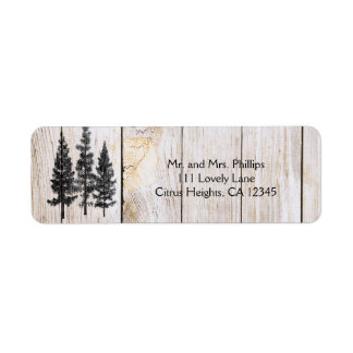 Rustic Pine Trees Wooden Simple Country Wedding Label