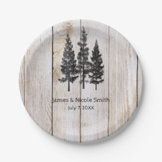 Rustic Pine Trees Wooden Simple Country Wedding Paper Plate