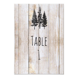 Rustic Pine Trees Wooden Wedding Table Number