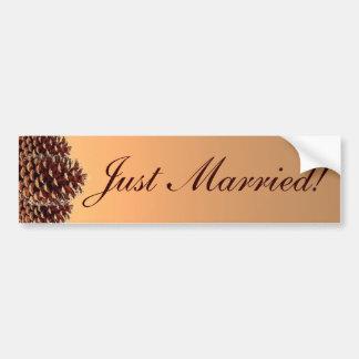 Rustic pinecone autumn just married bumpersticker bumper sticker