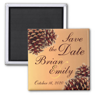 Rustic pinecone autumn save the date magnet