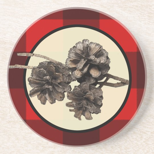 Rustic Pinecones & Plaid Coaster