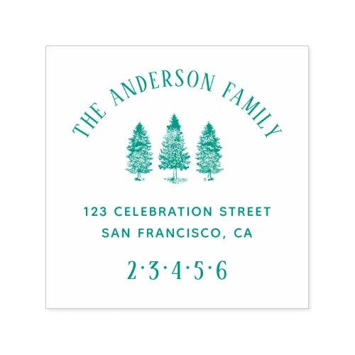 Rustic Pines  Custom Family Name Return Address Self_inking Stamp
