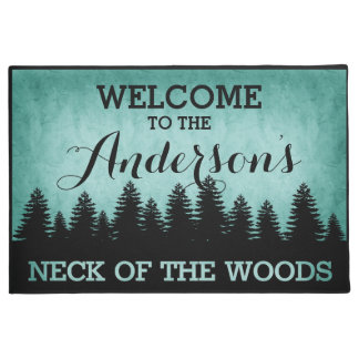 Rustic Pines Personalized (aqua) Welcome Doormat