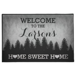 Rustic Pines Personalized (gray) Welcome Doormat