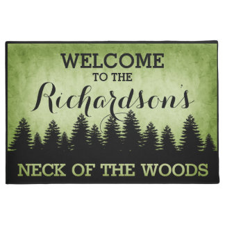 Rustic Pines Personalized (green) Welcome Doormat