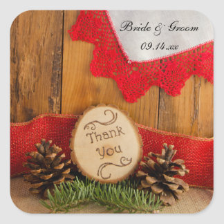 Rustic Pines Red Lace Woodland Wedding Thank You Square Sticker