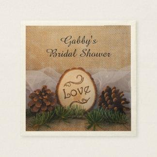 Rustic Pines Woodland Bridal Shower Paper Napkins