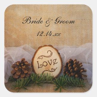 Rustic Pines Woodland Wedding Envelope Seals Square Sticker