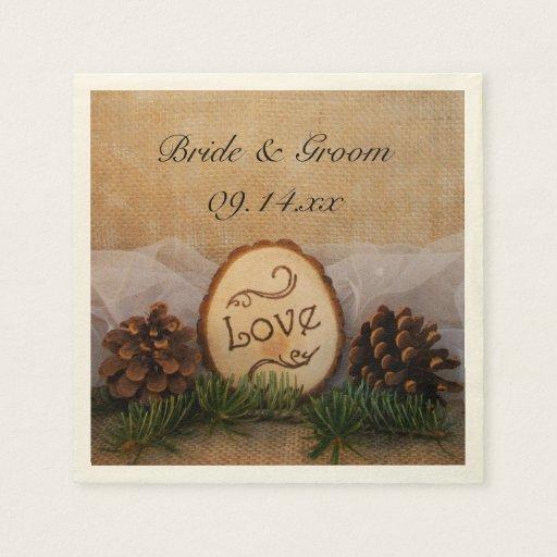 Rustic Wedding Napkins: Rustic Pines Woodland Wedding Napkin