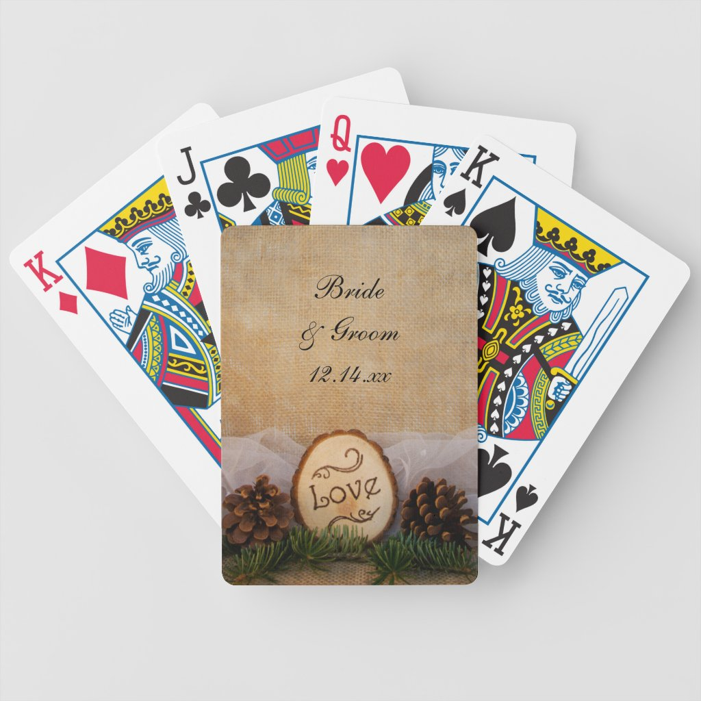 Rustic Pines Woodland Wedding Playing Cards