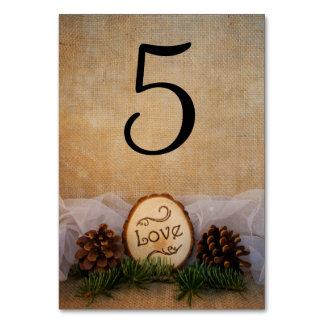 Rustic Pines Woodland Wedding Table Numbers Card