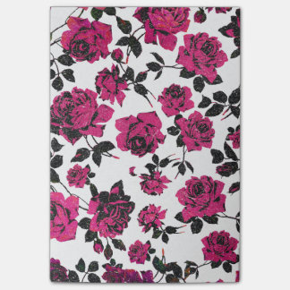 Rustic Pink and Black Stem Rose Pattern Post-it Notes