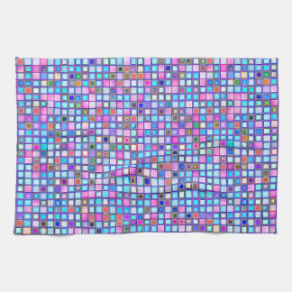 Rustic Pink And Blue Mosaic 'Clay' Tiles Pattern Kitchen Towels