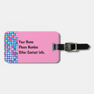 Rustic Pink And Blue Mosaic 'Clay' Tiles Pattern Luggage Tag