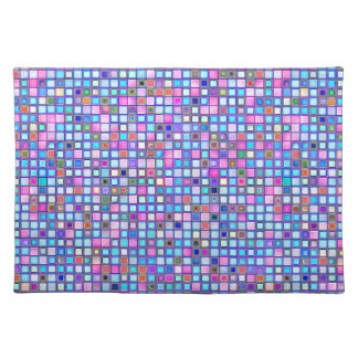 Rustic Pink And Blue Mosaic 'Clay' Tiles Pattern Placemats