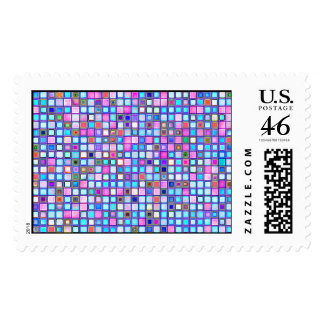 Rustic Pink And Blue Mosaic 'Clay' Tiles Pattern Postage Stamps