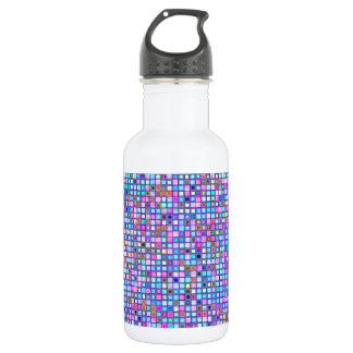 Rustic Pink And Blue Mosaic 'Clay' Tiles Pattern Water Bottle