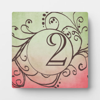 Rustic Pink and Green Bohemian Table Number Photo Plaques