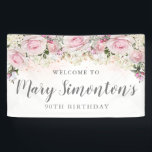 """Rustic Pink and White Floral 90th Birthday Banner<br><div class=""""desc"""">Rustic and elegant. Blush pink roses,  white hydrangea flowers and lots of greenery,  leaves and vines join together to create a beautiful floral border along the top of this 90th birthday banner.  Please contact me if you need help customizing it or finding coordinating items.</div>"""