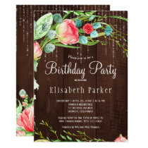 Rustic pink blush garden roses birthday party card