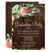 Rustic pink blush garden roses graduation party card
