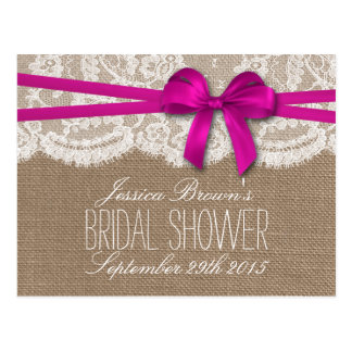 Rustic Pink Bow Bridal Shower Recipe Cards Postcard