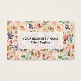 rustic pink brown vintage ivory country floral business card