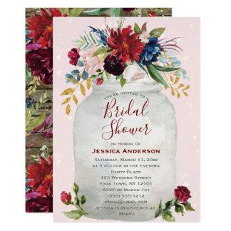 Rustic Pink Burgundy Gold Mason Jar Bridal Shower Invitation