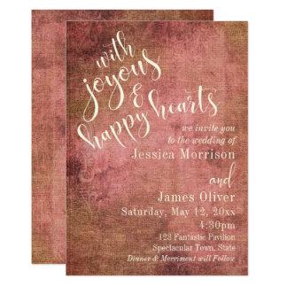 Rustic Pink & Burlap Vintage Typography Wedding 3 Card