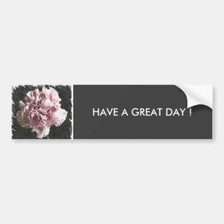Rustic pink carnation on black background bumper sticker