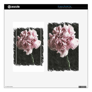 Rustic pink carnation on black background decals for kindle fire