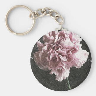 Rustic pink carnation on black background basic round button keychain