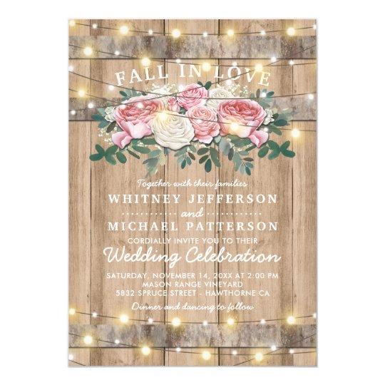 Rustic Pink Cream Eucalyptus Fl Wedding Invitation