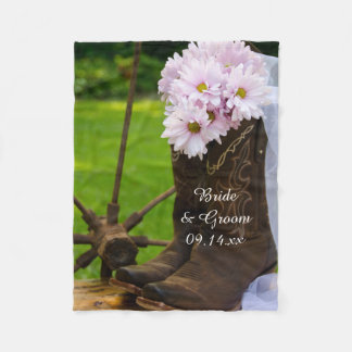 Rustic Pink Daisies and Cowboy Boots Wedding Fleece Blanket