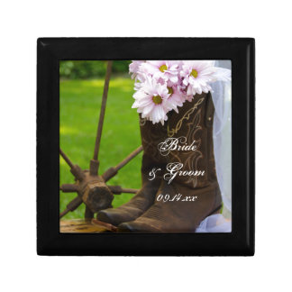 Rustic Pink Daisies and Cowboy Boots Wedding Jewelry Box