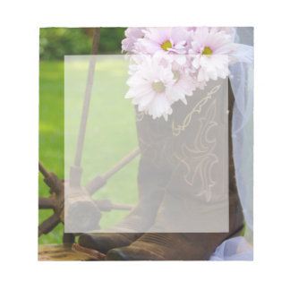 Rustic Pink Daisies and Cowboy Boots Wedding Notepad