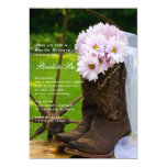 Rustic Pink Daisies Cowboy Boots Bridal Shower 5x7 Paper Invitation Card