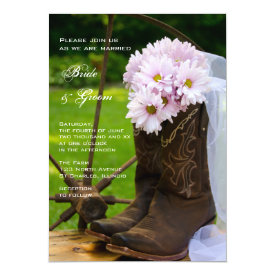 Rustic Pink Daisies Cowboy Boots Country Wedding Card