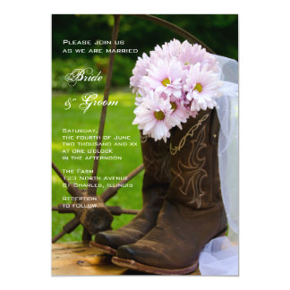 Rustic Pink Daisies Cowboy Boots Country Wedding 5x7 Paper Invitation Card