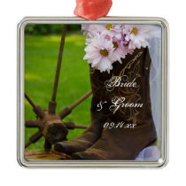 Rustic Pink Daisies Cowboy Boots Country Wedding Metal Ornament
