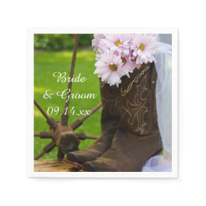 Rustic Pink Daisies Cowboy Boots Country Wedding Standard Cocktail Napkin