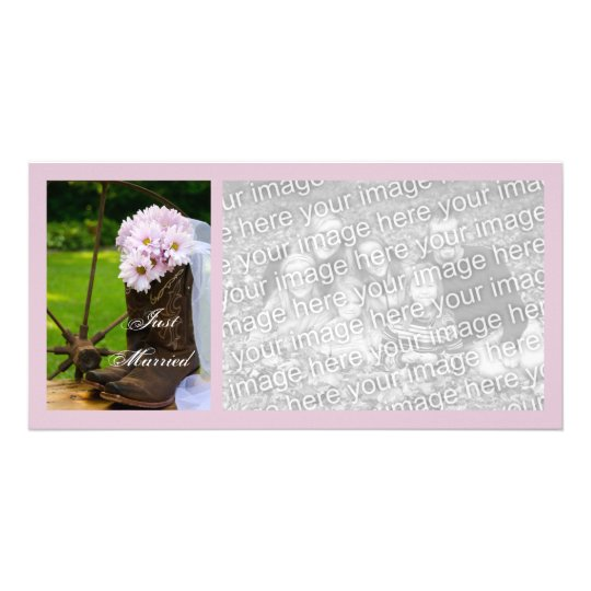 Rustic Pink Daisies Cowboy Boots Just Married Card