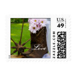 Rustic Pink Daisies Cowboy Boots Love Wedding Stamp