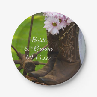 Rustic Pink Daisies Cowboy Boots Wedding Paper Plate