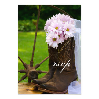 Rustic Pink Daisies Cowboy Boots Wedding RSVP Card