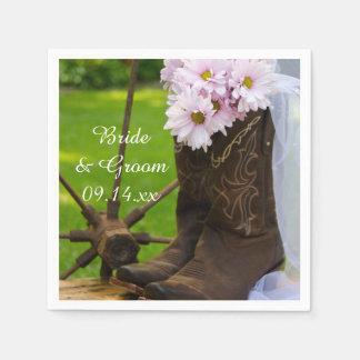 Rustic Pink Daisies Cowboy Boots Western Wedding Napkin